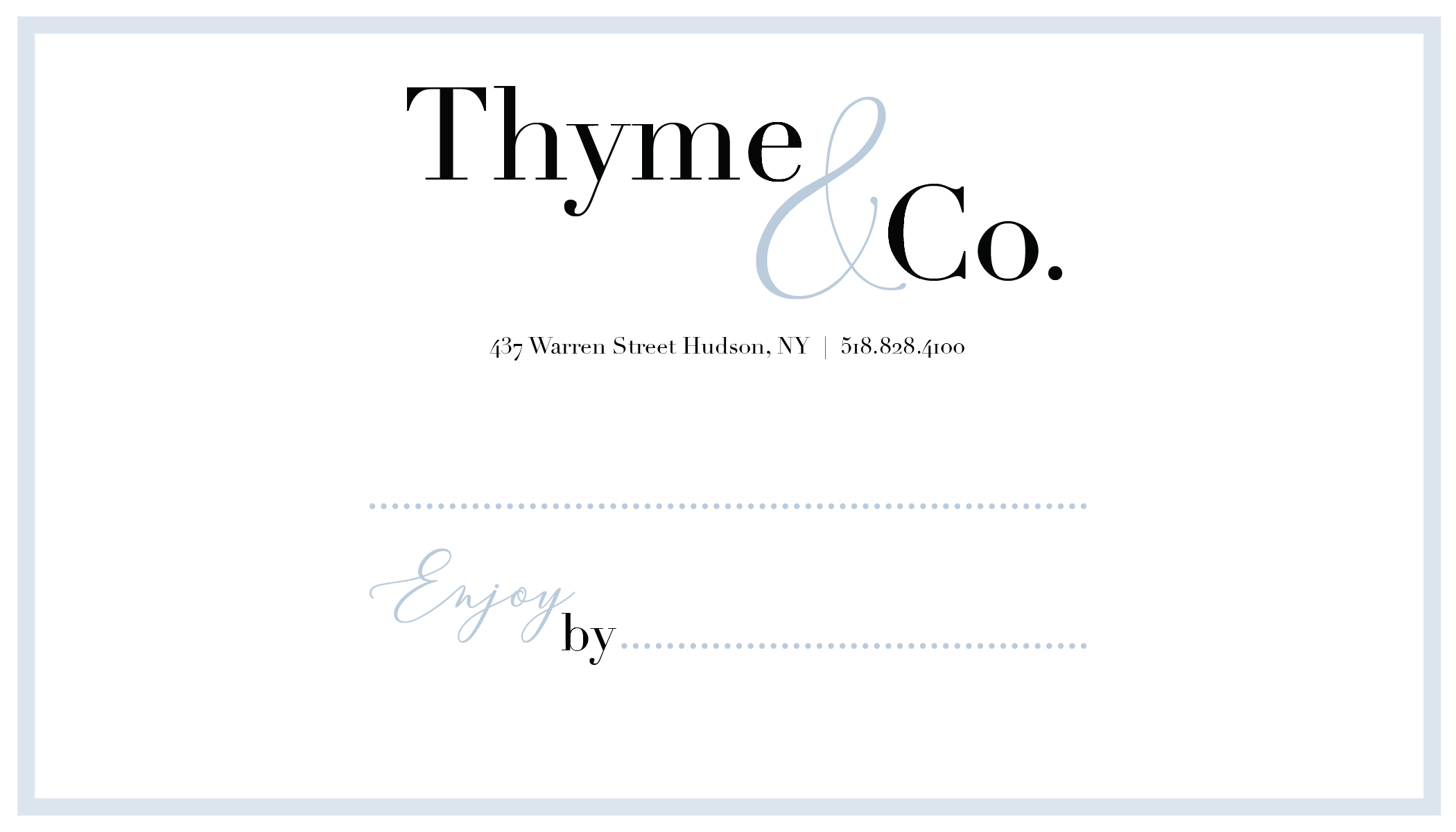 Label Design for Thyme & Co.