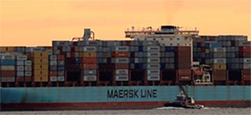 The Maersk ship Adrian Maersk is seen as it departs from New York Harbor in New York City, U.S., June 27, 2017. REUTERS/Brendan McDermid