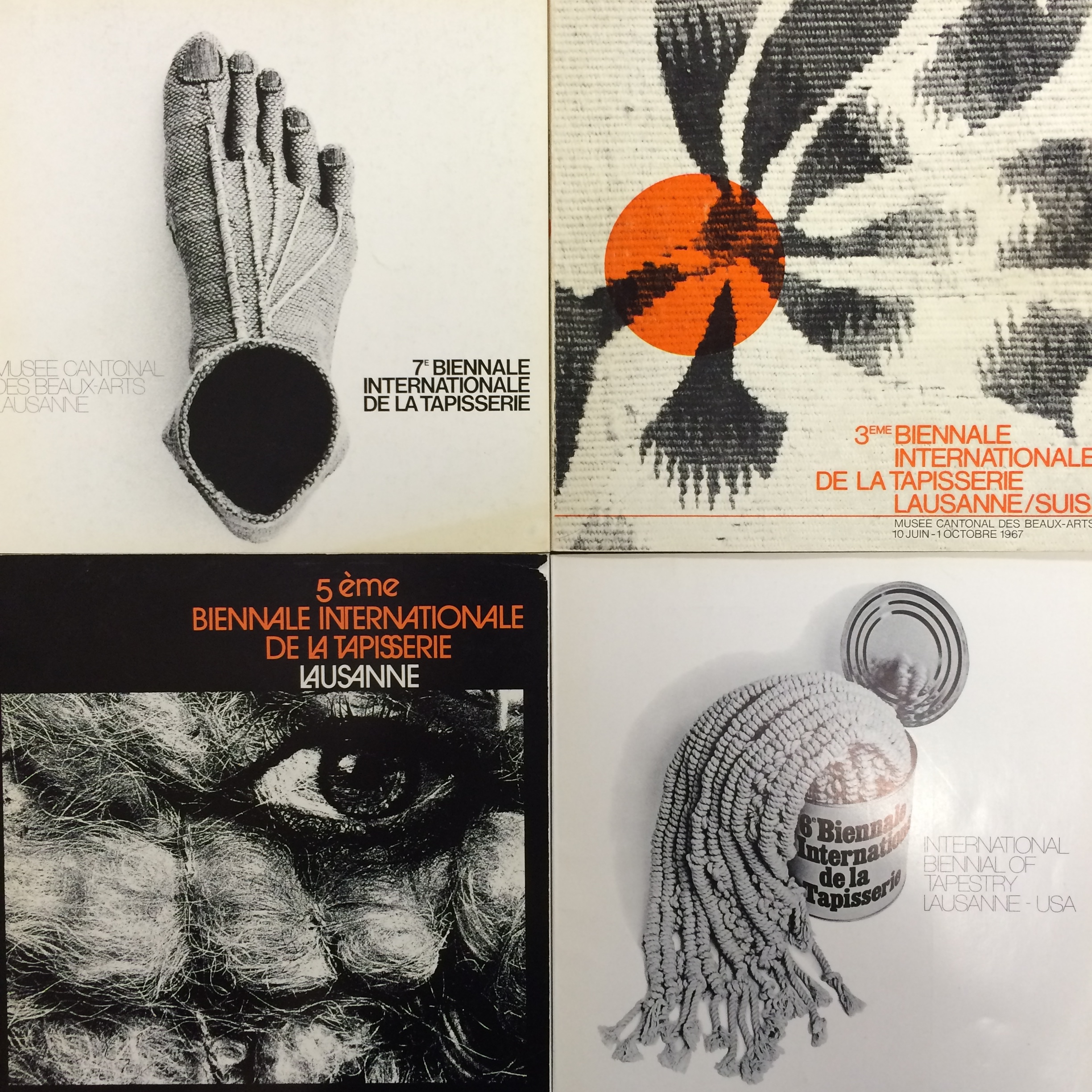 A grid of Lausanne Biennial covers from the Friends of Fiber Art International archives.