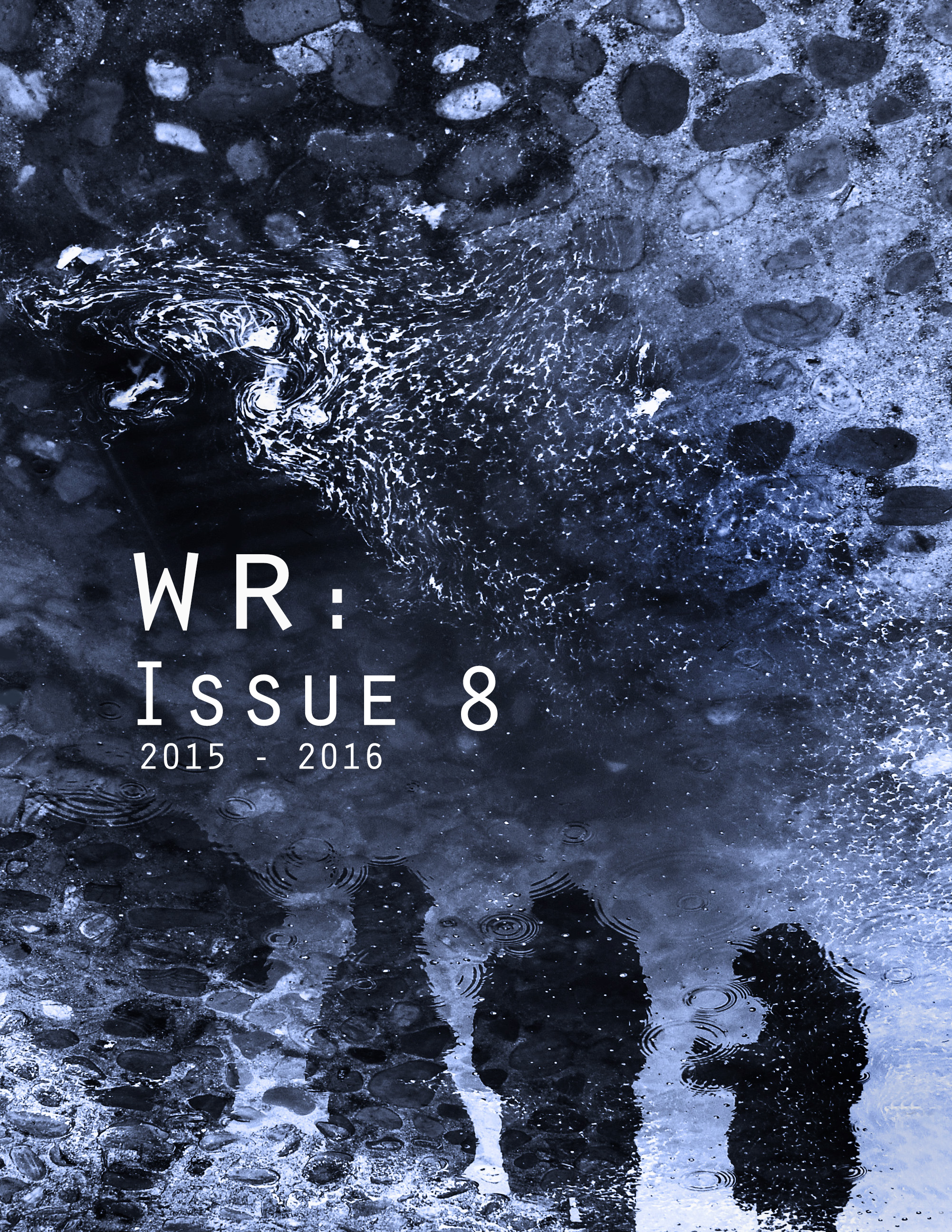 "Not only did Eva contribute an essay to the collection; she also won the annual Cover Design Contest. She explains: ""The reflective puddle, the distorted quality of the marks in the water and the stones convey an other-worldliness, which in turn highlights the fact that students' ideas go far beyond a single essay and have much greater implications in the world."""