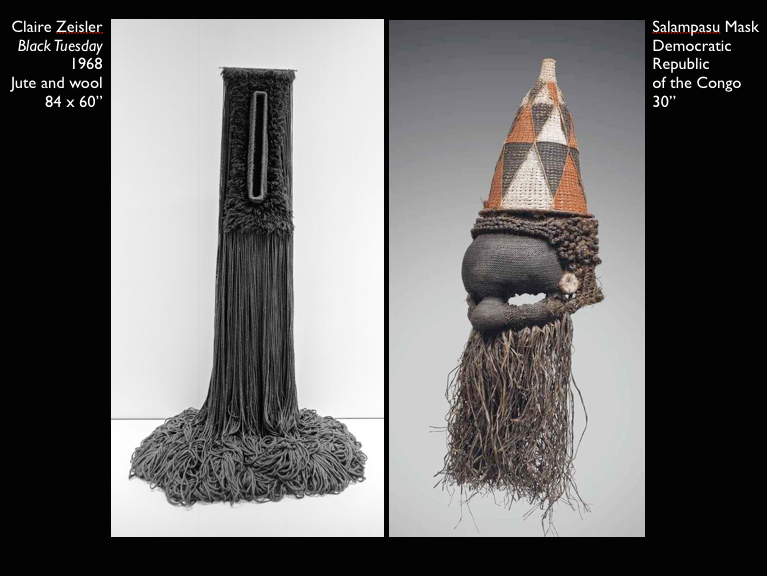 A slide from my presentation, in which I identify formal congruences between the sculpture Claire Zeisler made (left) and collected (right). Both of these fiber objects juxtapose a densely articulated upper register with loose, cascading strands below.