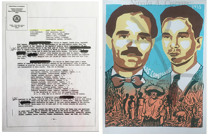 "A sneak peek of images from  Puerto Rican ""American"": Uncovering Suppressed Histories Between Puerto Rico and the U.S . At left, a government document pertaining to Nayda Cuevas' grandfather, Angel Ramos Torres; at right, Nayda's artistic rendition of his friendship with PR Nationalist leader Pedro Albizo Campos,  Los Compadres , silkscreen."