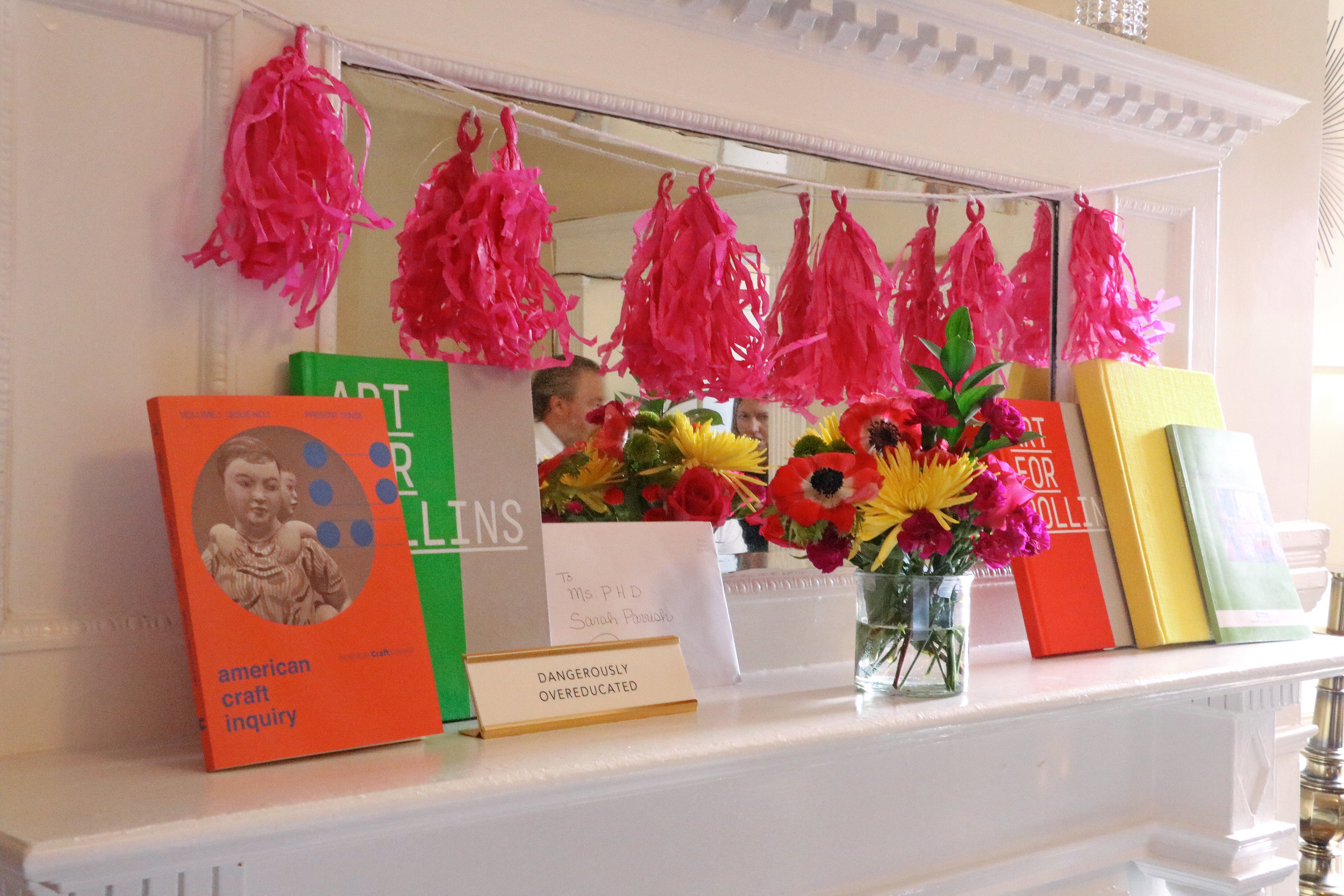 A perk of being a contemporary art historian is that your vibrant publication covers can do double-duty as decorations!