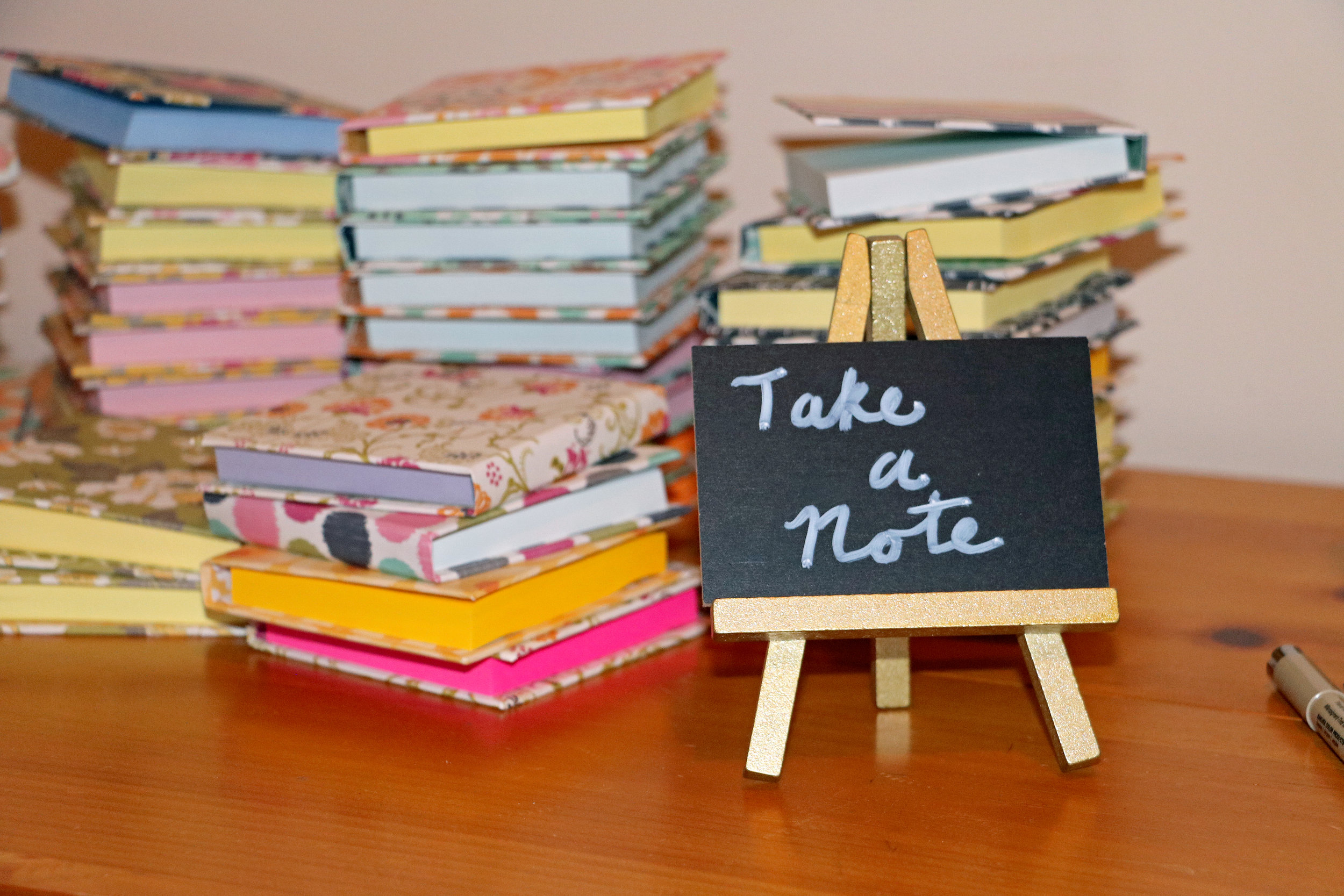 My mom Susan Parrish made these Post-It notebooks for graduation party favors. More of her work is on her website and Etsy store,  In the Woodz .