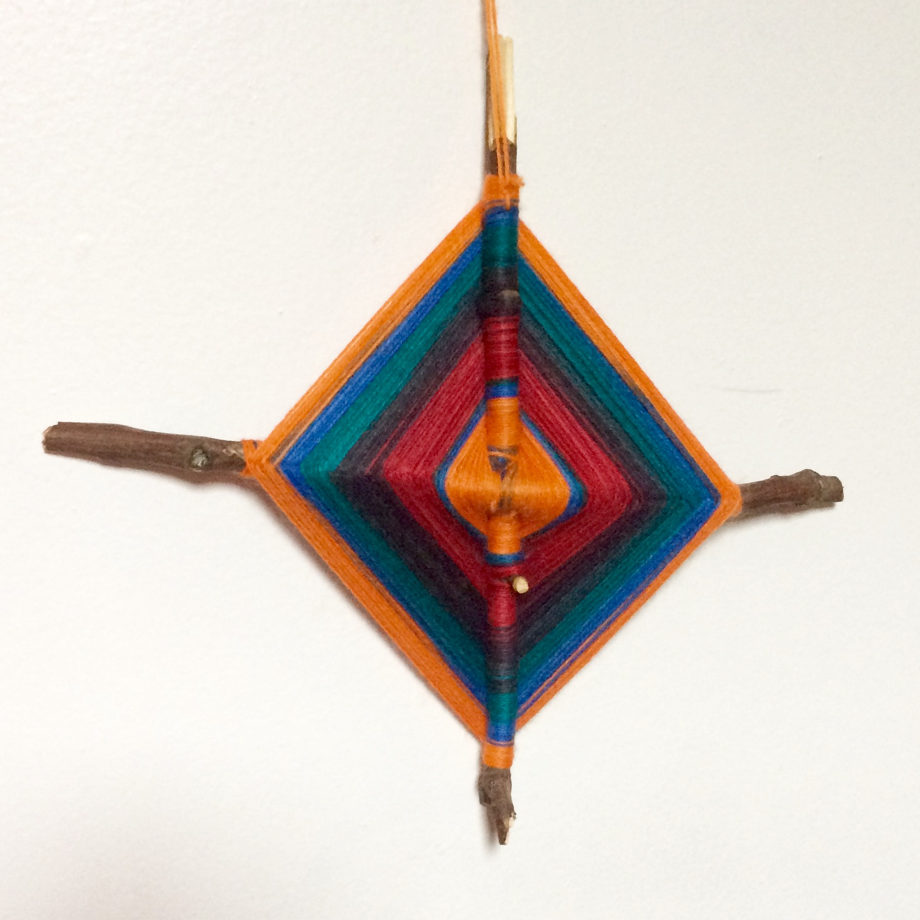 Because I study fiber art, my advisor made me this God's Eye as a graduation present. I don't know as much about the history of these objects as I wold like, but one fitting interpretation I found online indicates that they can be used to mark rites of passage.