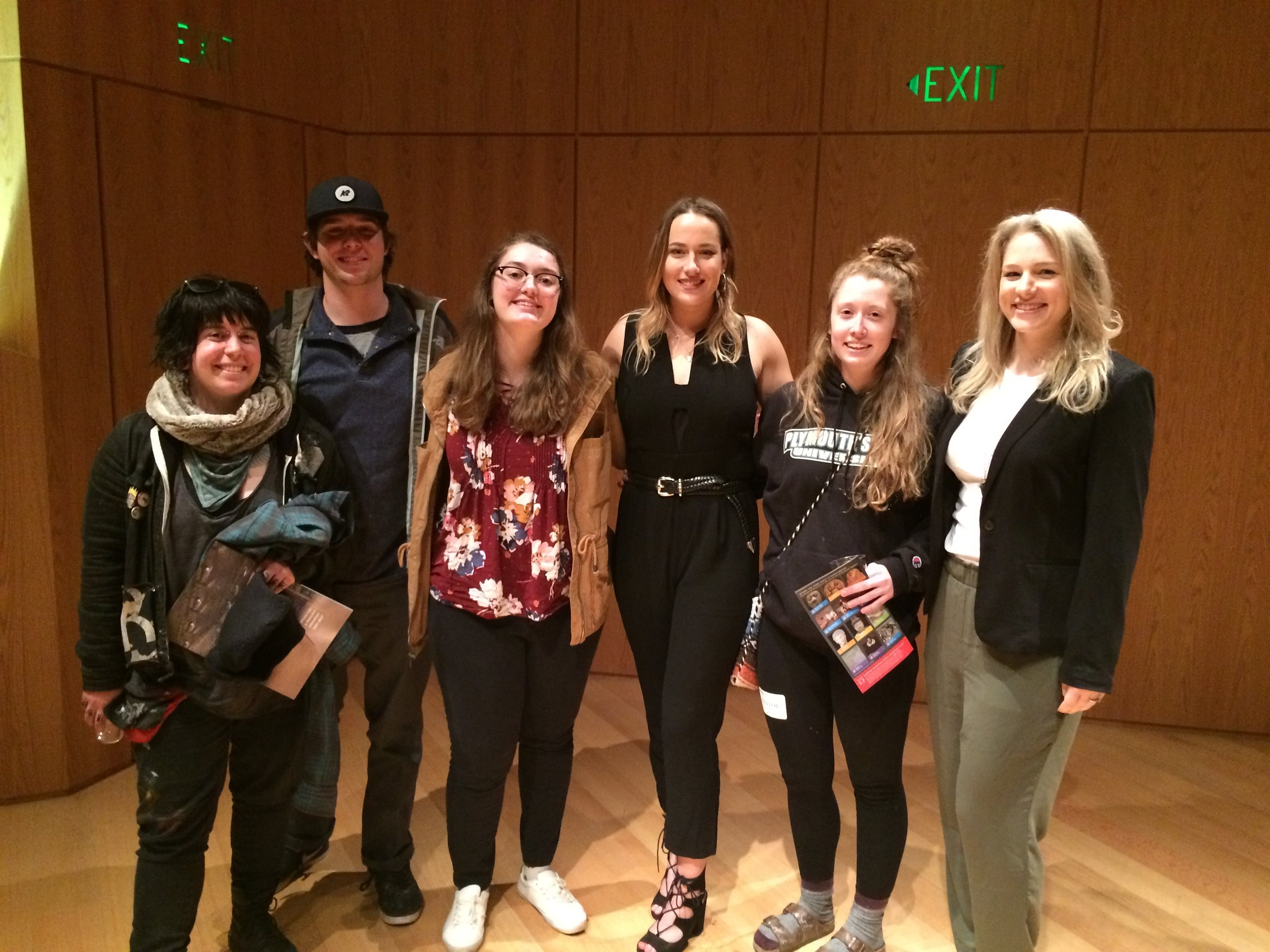 BFA Seniors at the MFA. From left to right: Julie Mosso, Rob Hansen, Rae Bujeaud, Caity O'Leary, Felicia Wells, Sarah Parrish.