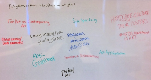 Contemporary Art Seminar students share some of their chapter ideas for the   Opening Contemporary Art   textbook. Their choices reframe the course content according to themes that reflect their own experiences of contemporaneity.