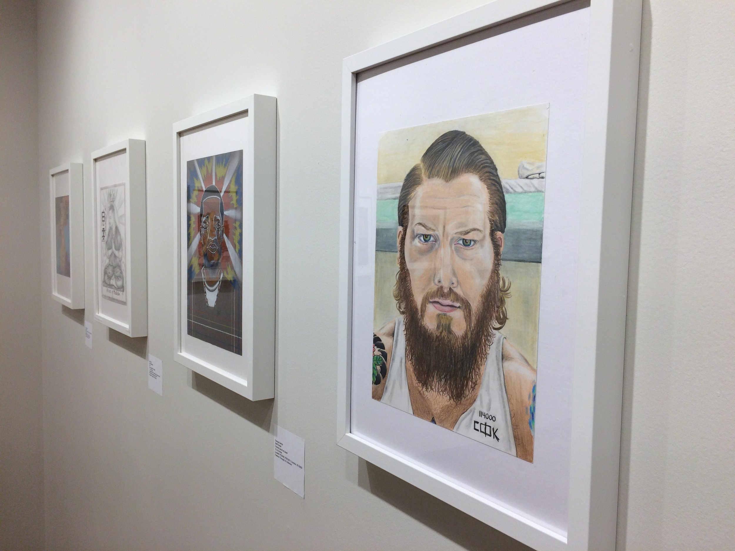 installation view of  Inside/Out: New Perspectives from Incarcerated Artists.