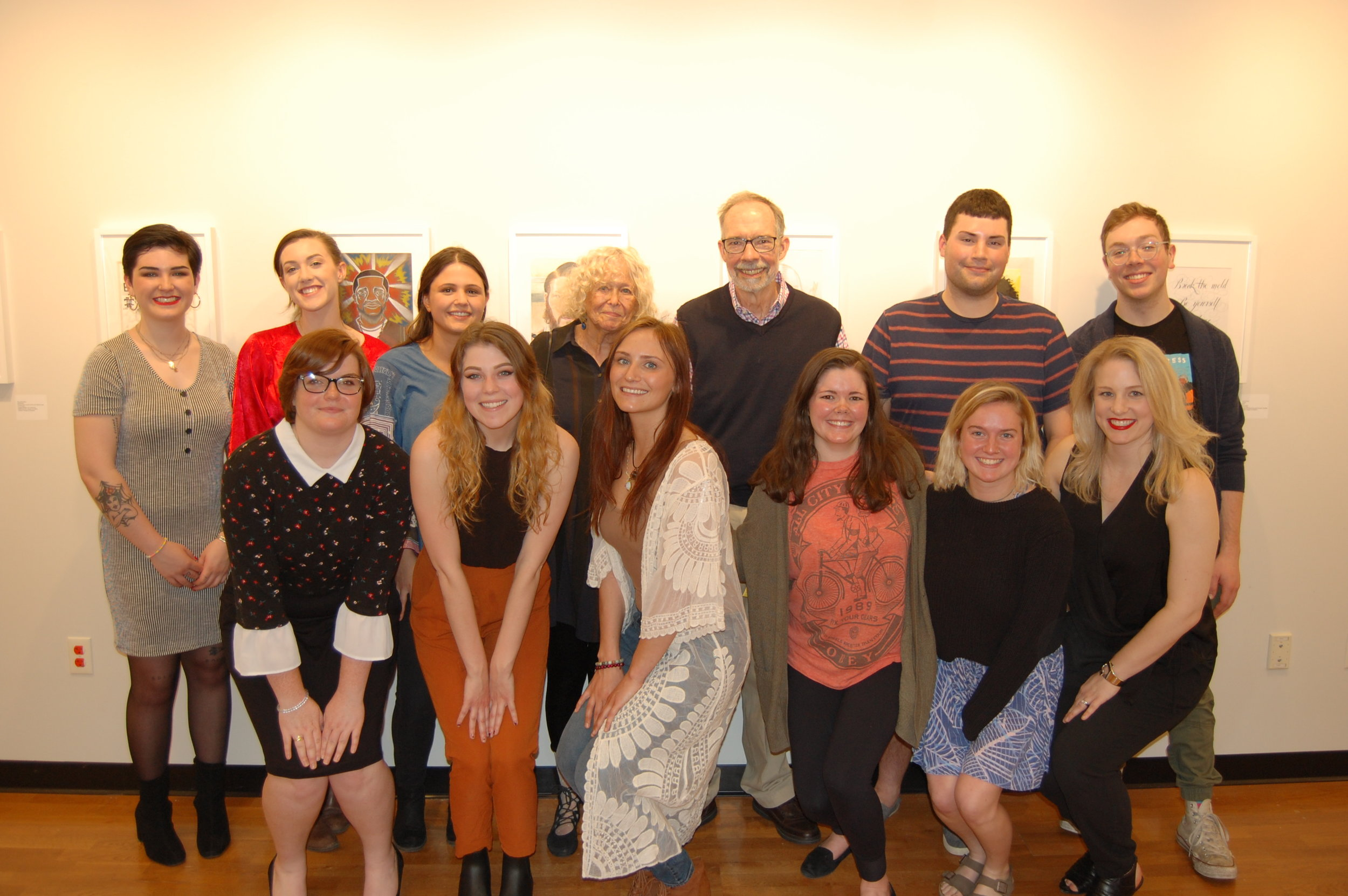 The entire team poses at the opening with Art History Emeritus Professors and project namesakes Dick Hunnewell and Naomi Kline (back row center).