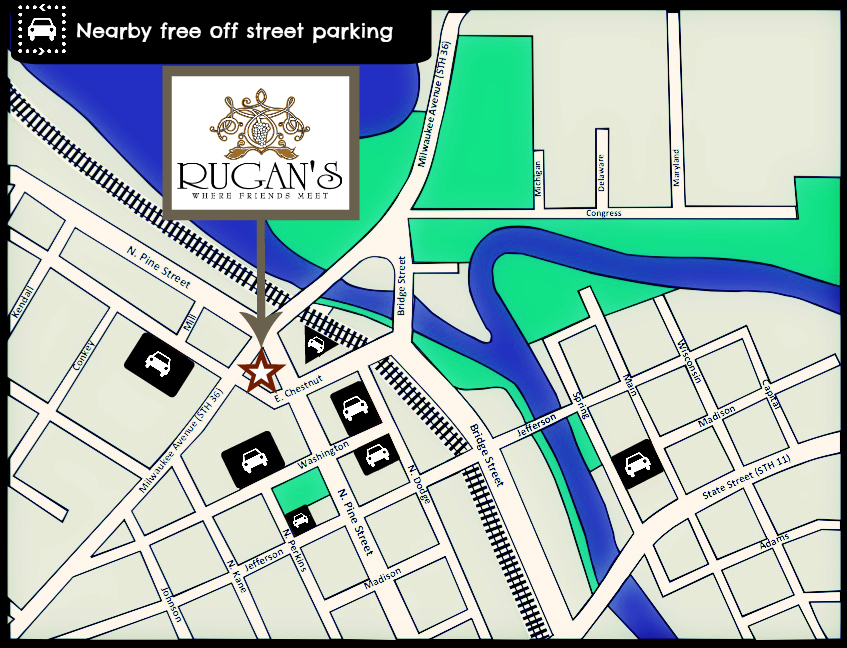 Free Municipal Parking Lots Near RUGAN'S Burlington, WI