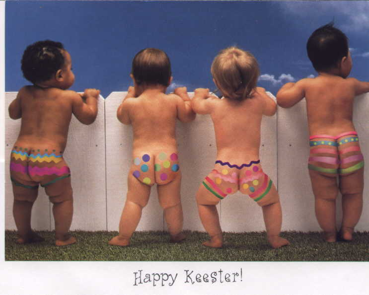 I know this is for Easter and not Christmas but naked baby bottoms are cute any time of year!