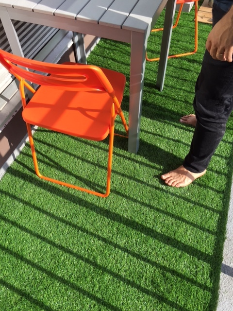 """The fun Brooklyn purchase - astroturf on the balcony!  *Gorilla Bin is only in NY but check out Bungo Box or just google """"reusable moving boxes."""""""