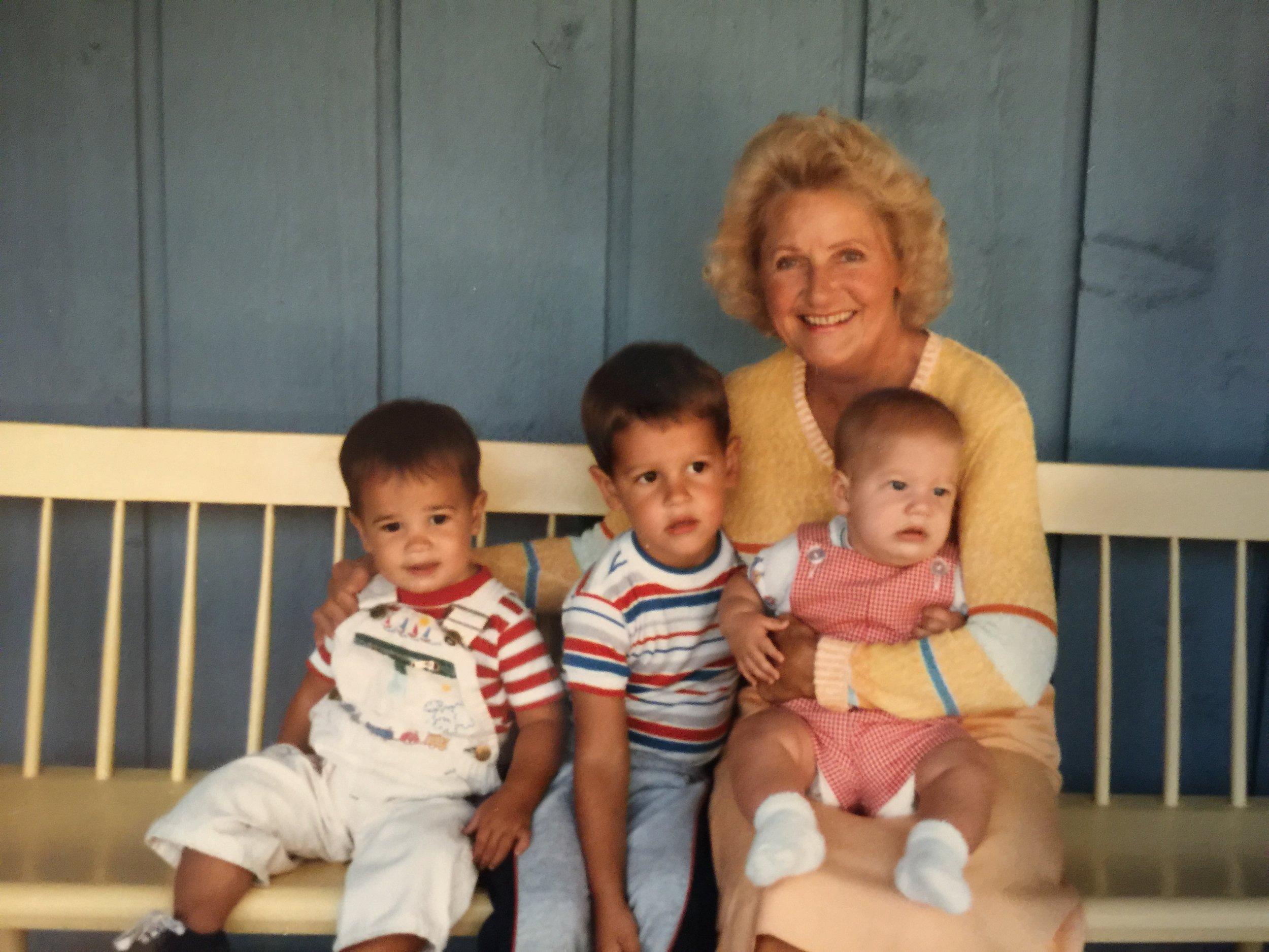 Jay's Mom holding Edward, with John and Philip. Walloon Lake, Michigan