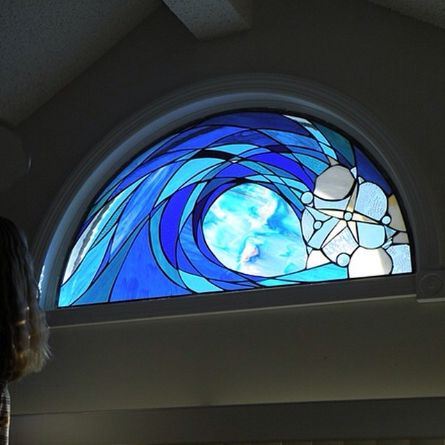 A custom stained glass installation in a private residence in Loveladies, NJ. Call or stop in for more info about custom works.