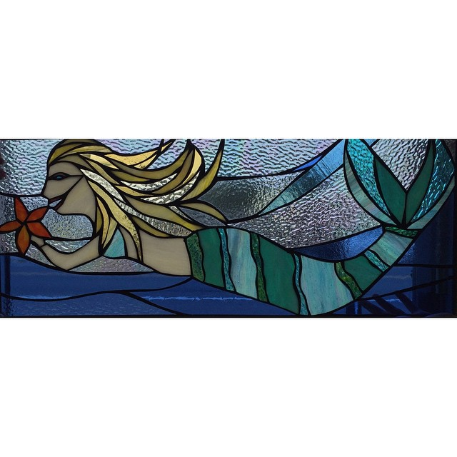Custom mermaid stained glass