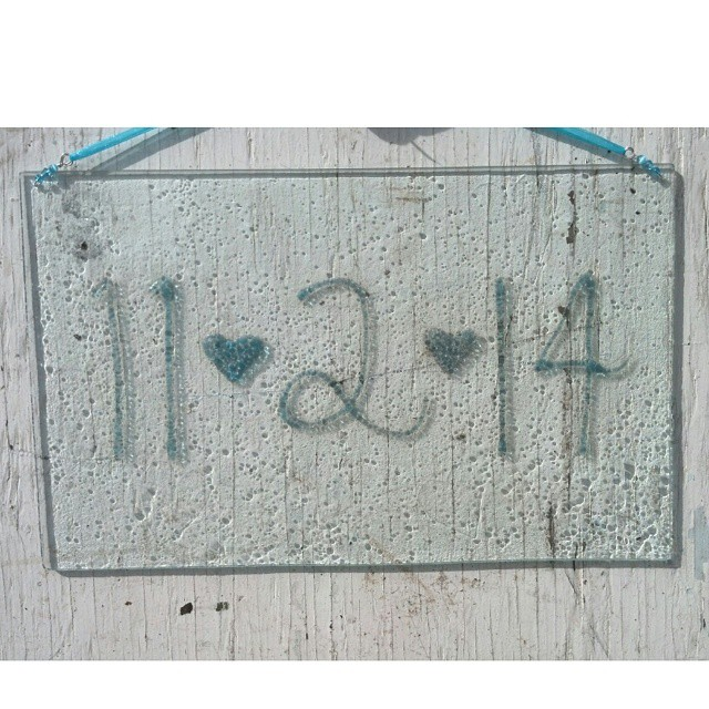 Recycled glass date plaque. He will NEVER forget your special day. Call us with your custom date order. Cost is $125.