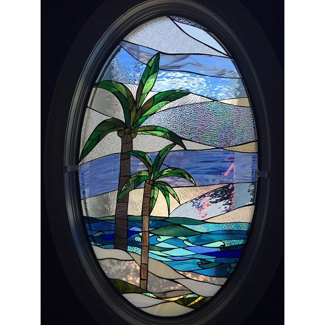 Palm trees oval stained glass