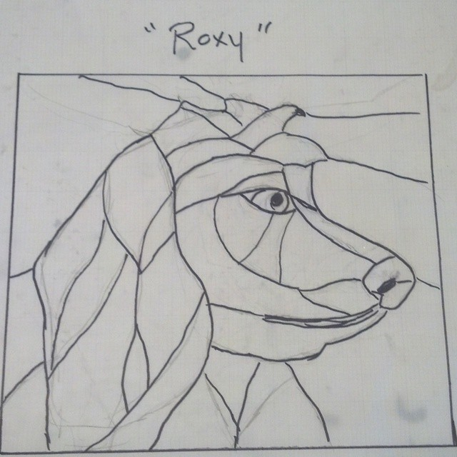 Who is your best friend? Love your pets in stained glass. This is a sample final design on drafting vellum.