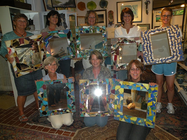 "This was a private happy hour class where each of the participants made 18"" x 22"" mirrors. Super Fun!"