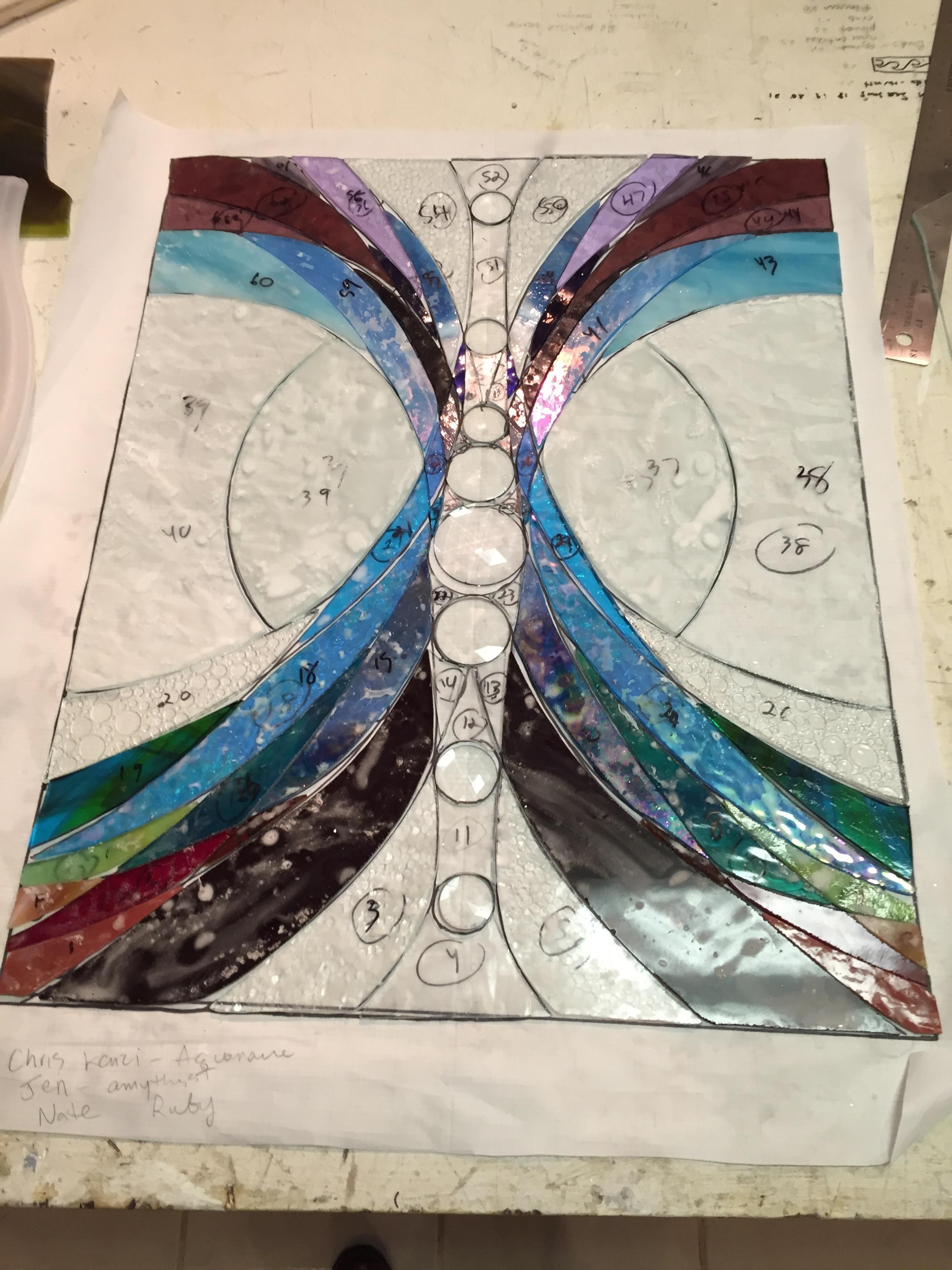 Custom Chakra energy stained glass in progress