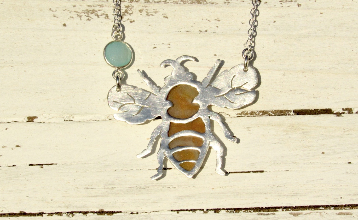 Honey Bee Sterling Silver Bezel Set Necklace with Blue Chalcedony. Process 6