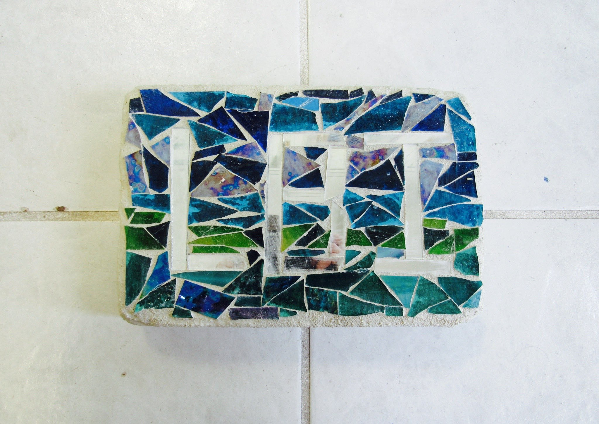 Handmade Outdoor Mosaic Garden Brick- made at SwellColors Glass Studio in Surf City, NJ. Come make your very own today!