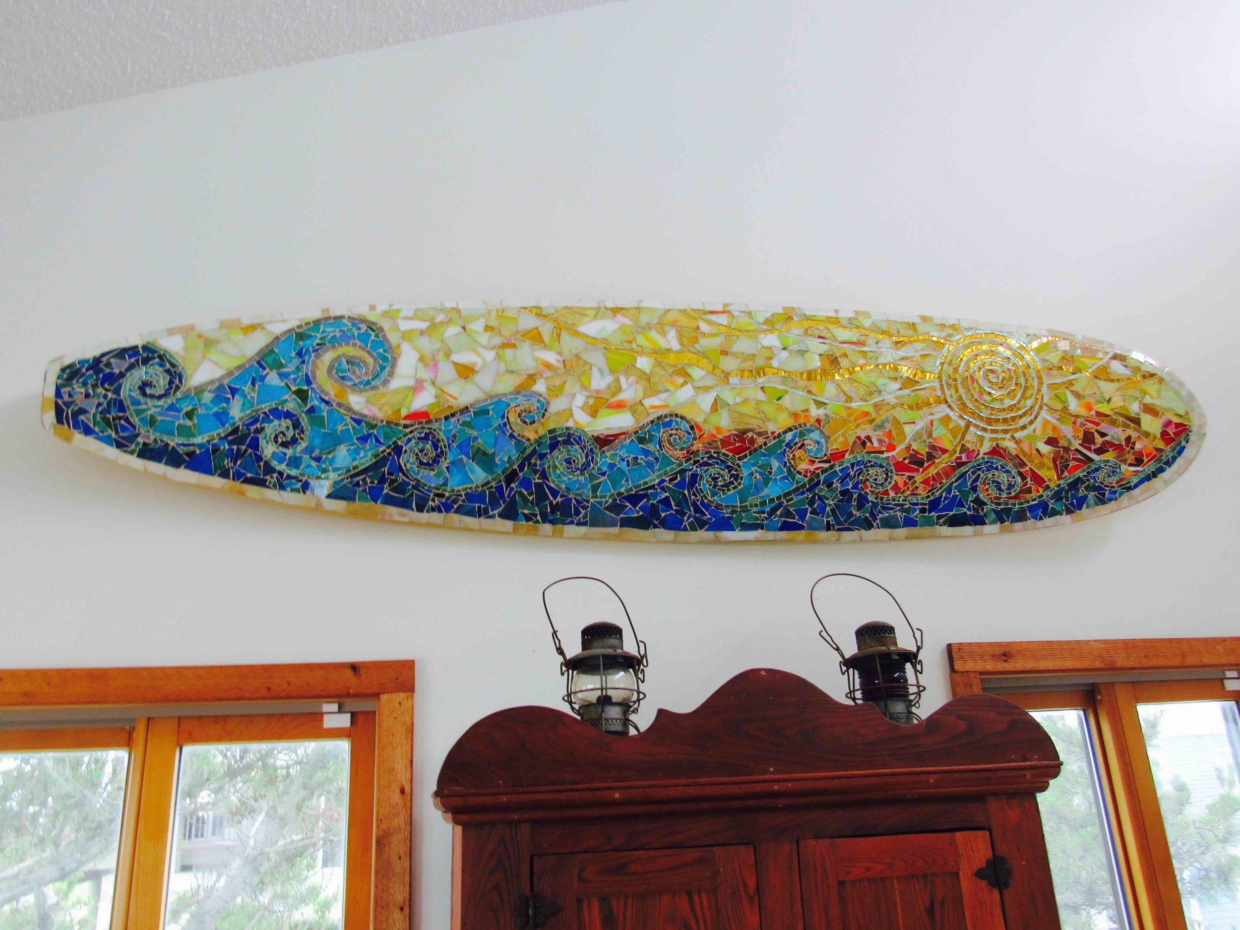 Custom Glass Mosaic Surfboard Art- Sun Over Waves