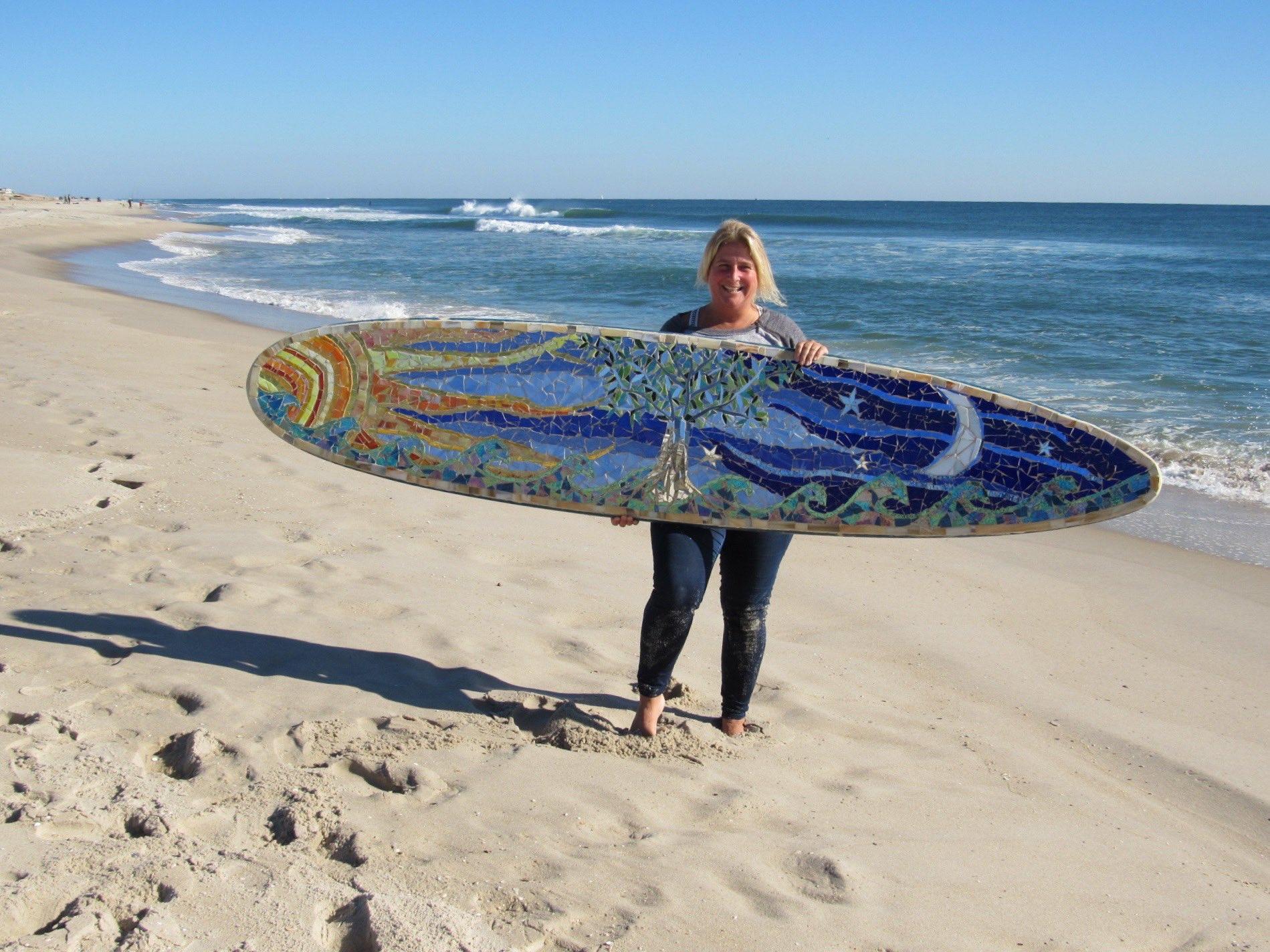 Custom Glass Mosaic Surfboard- Tree of Life