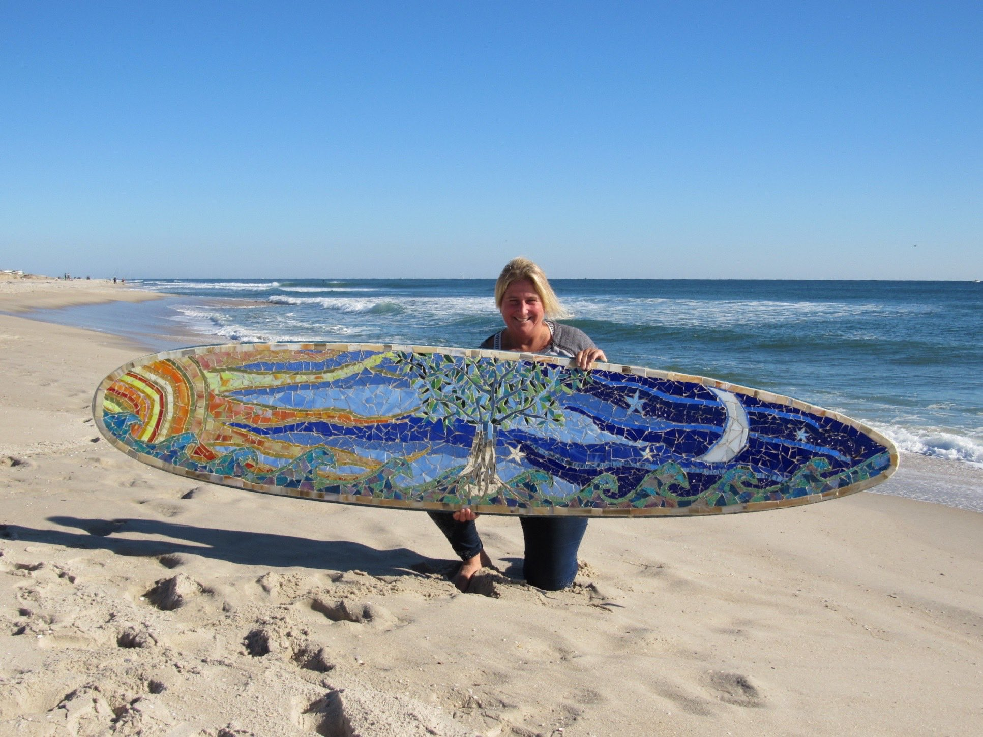 Custom Glass Mosaic Surfboard- Tree of Life. Artisan crafted by Mary Tantillo at SwellColors Glass Studio in Surf City, NJ.