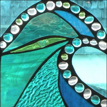 """Winter Sol Stained Glass Window Collection. Design for January 13: """"Turquoise Dreams""""."""