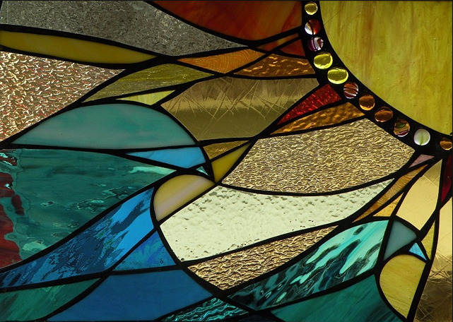 """Winter Sol Stained Glass Window Collection. Design for Febraury 2: """"Warm Waves""""."""
