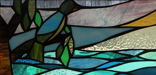 "Winter Sol Stained Glass Window Collection. Design for February 11: ""Morning Surf Check""."