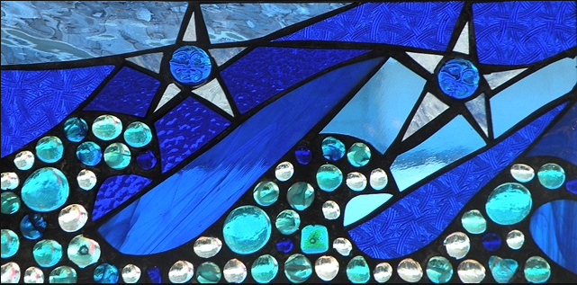 """Winter Sol Stained Glass Window Collection. Design for February 15: """"Party of 5""""."""