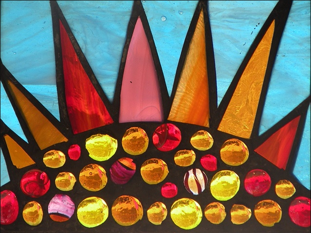 "Winter Sol Stained Glass Window Collection. Design for February 18: ""Royal Sunrise""."