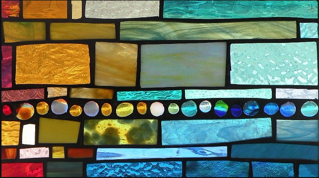 """Winter Sol Stained Glass Window Collection. Design for February 21: """"Line Up""""."""