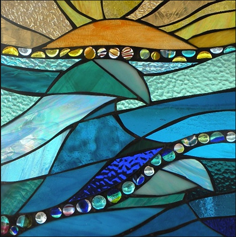 "Winter Sol Stained Glass Window Collection. Design for February 27: ""Soul Mates""."