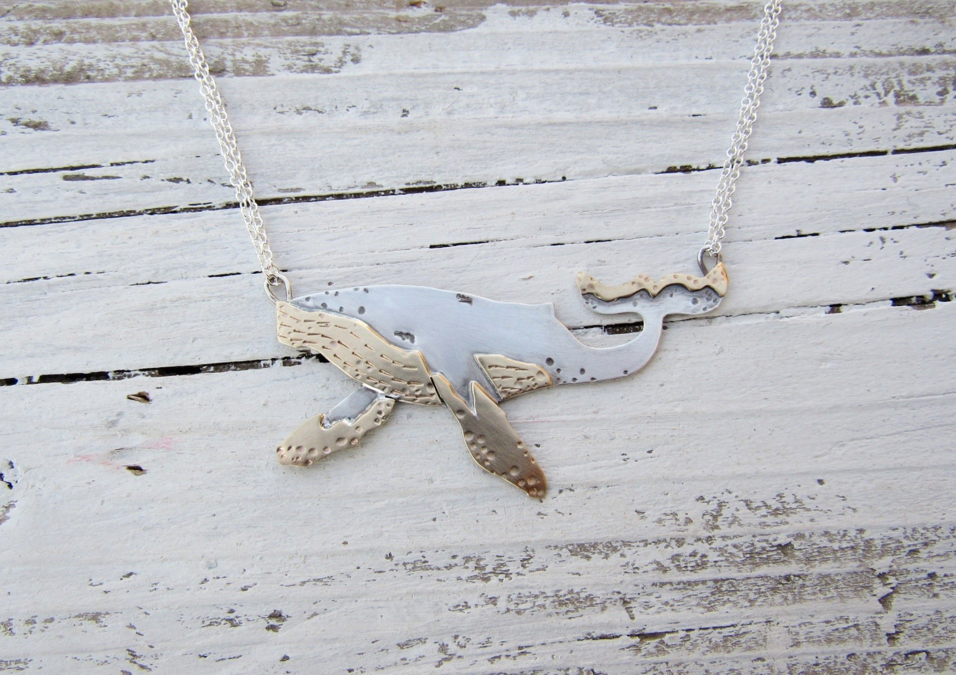 Humpback Silver and Brass Necklace