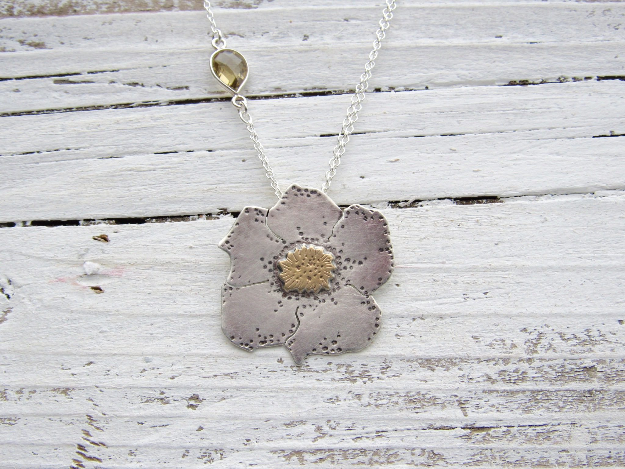 Beach Rose Sterling Silver Brass and Whiskey Topaz Necklace
