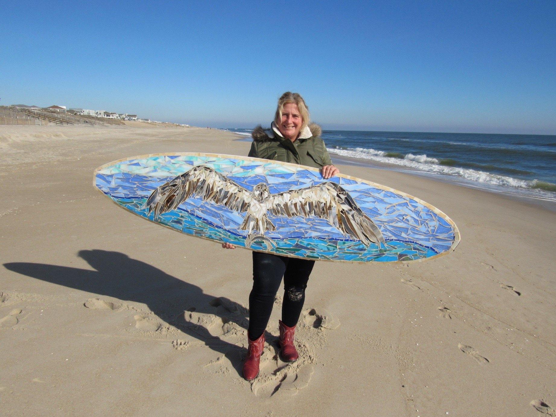 Ospreys Custom Glass Mosaic Surfboard  Custom made glass mosaic surfboard with majestic ospreys