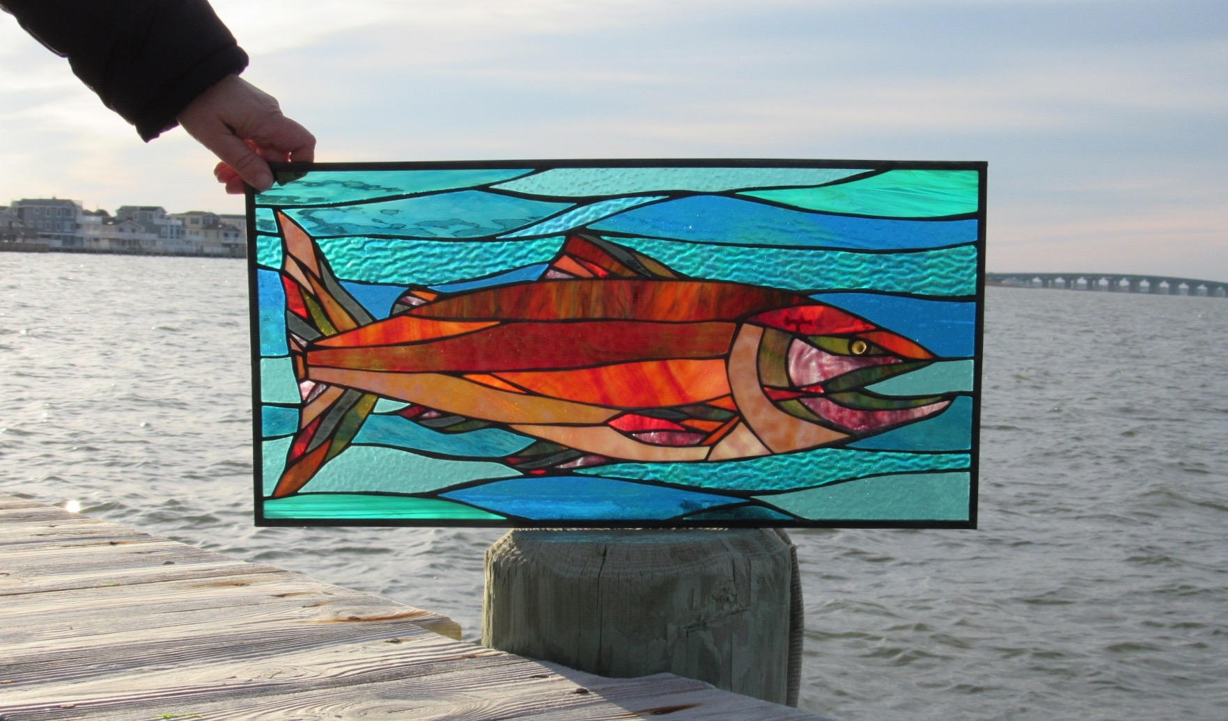 Salmon Swims Upstream Custom Stained Glass Panel  This panel was a very special custom project- we shipped it all the way to Alaska!