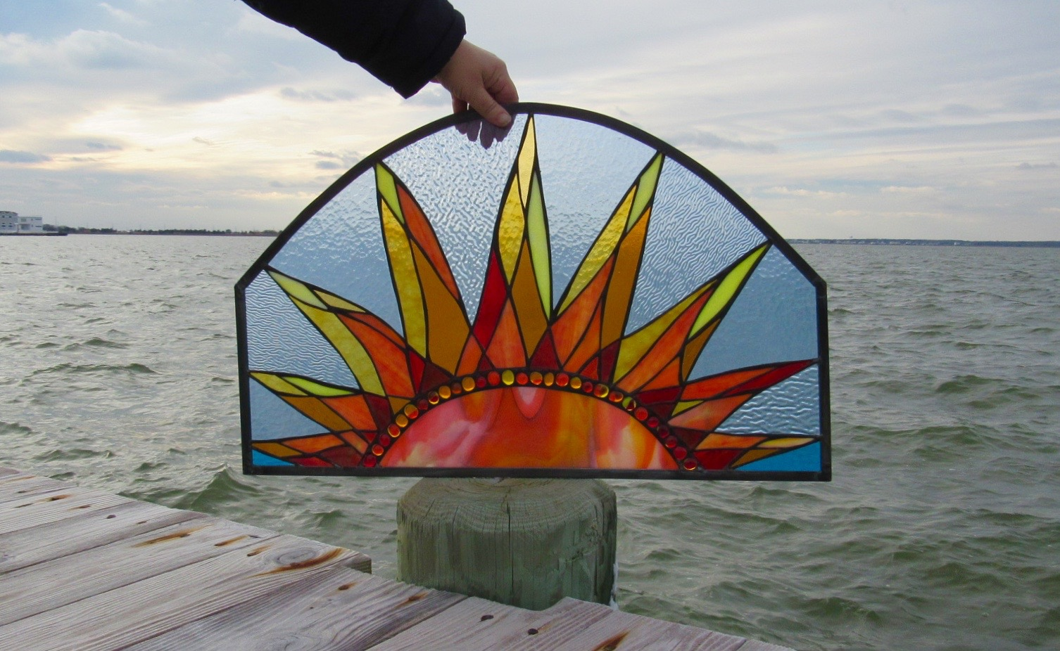 Custom Rising Sun Stained Glass Panel  This bad boy was shipped all the way to North Carolina. What a stunner!