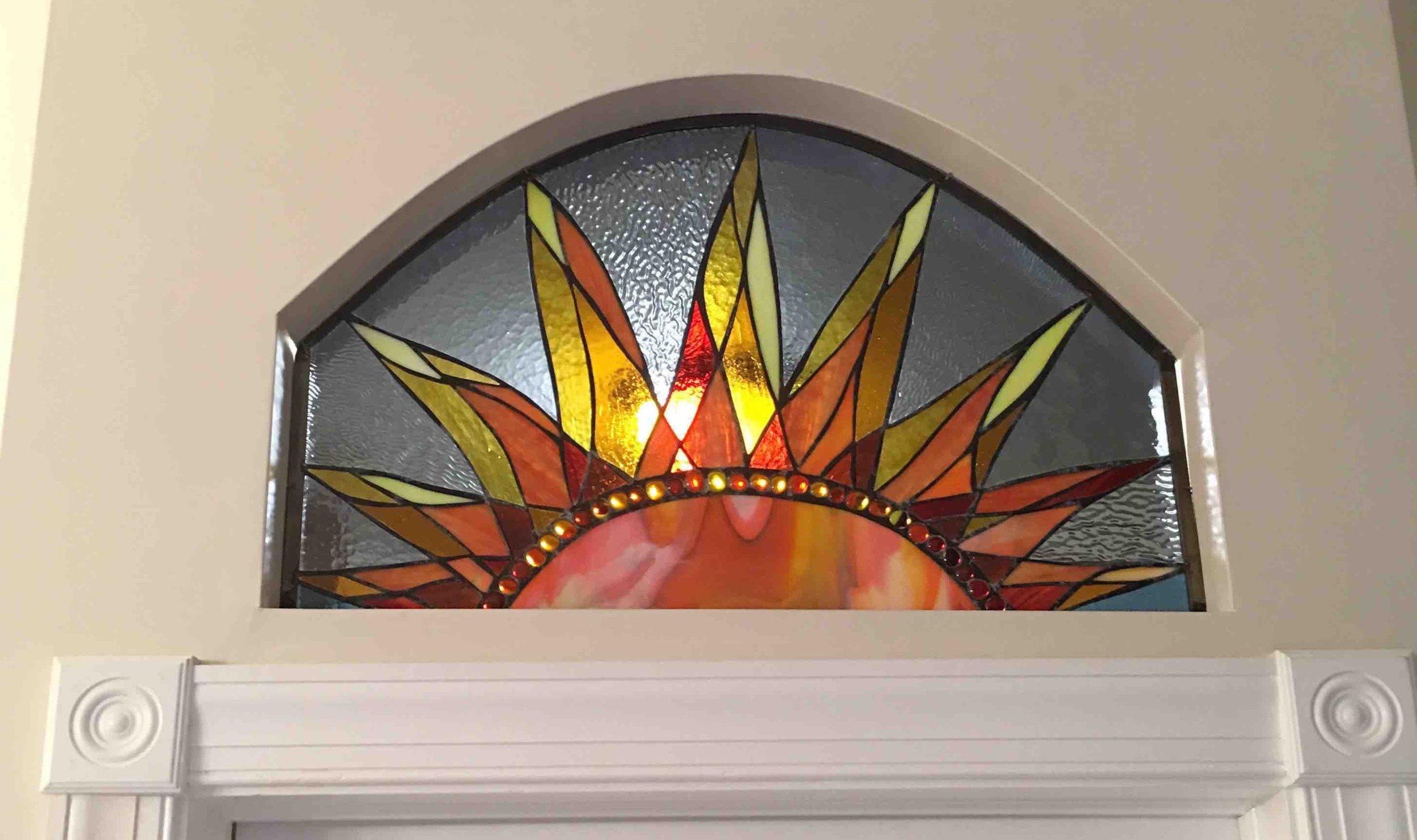Custom Stained Glass Sunrise Window  Transom Window Installed. 2017