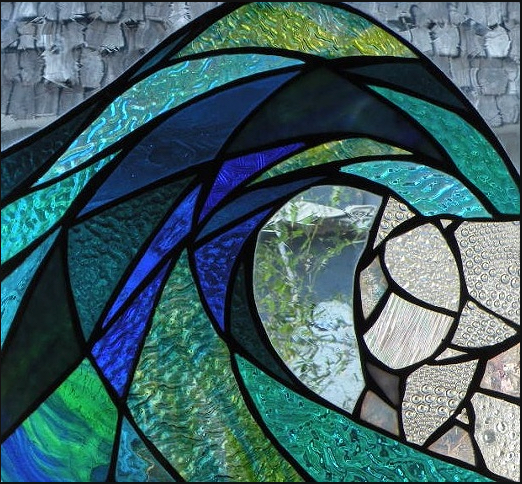 Primavera Stained Glass Collection. April 17. Aqua Swell