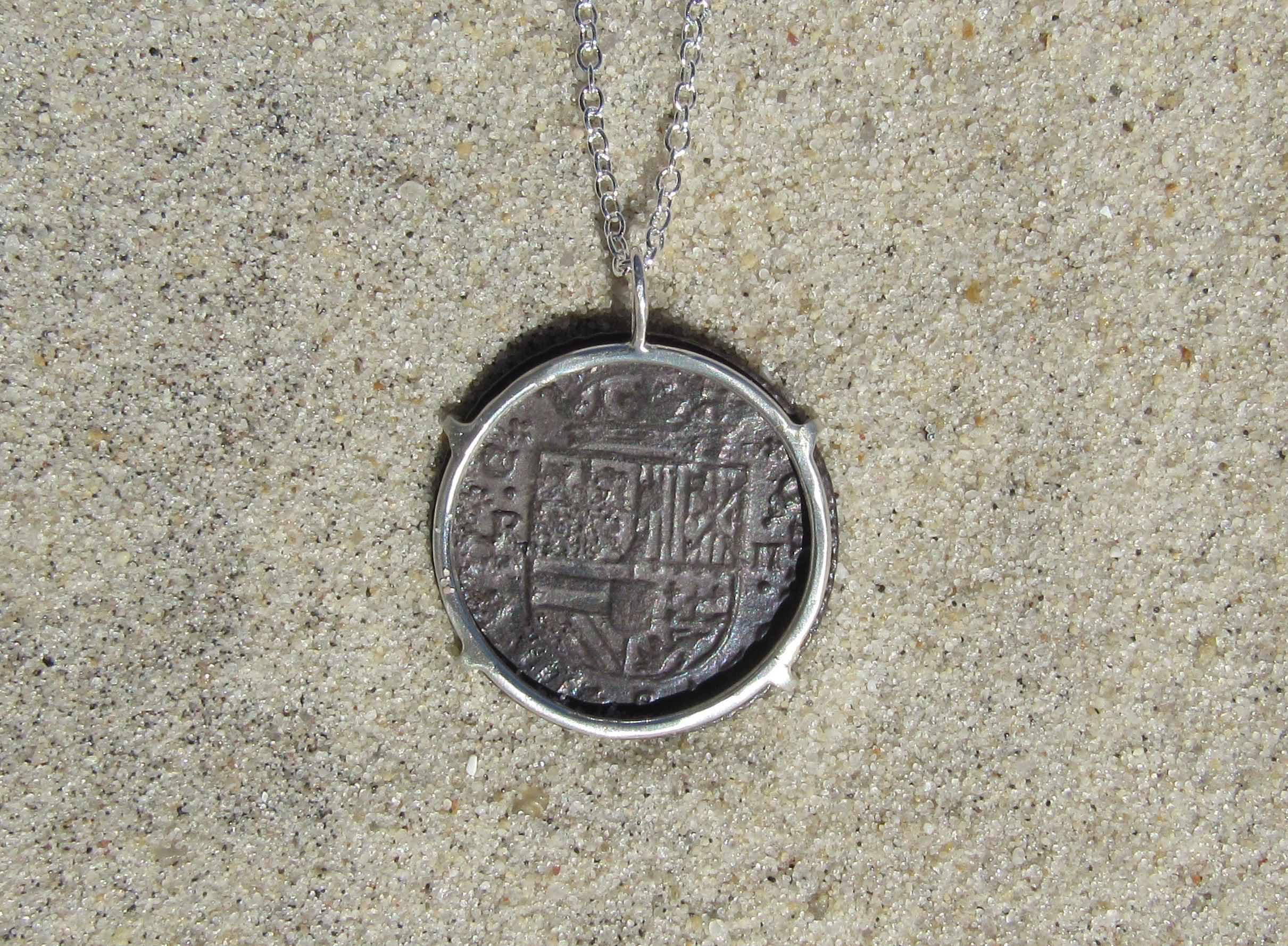 Spanish coin custom jewelry. back