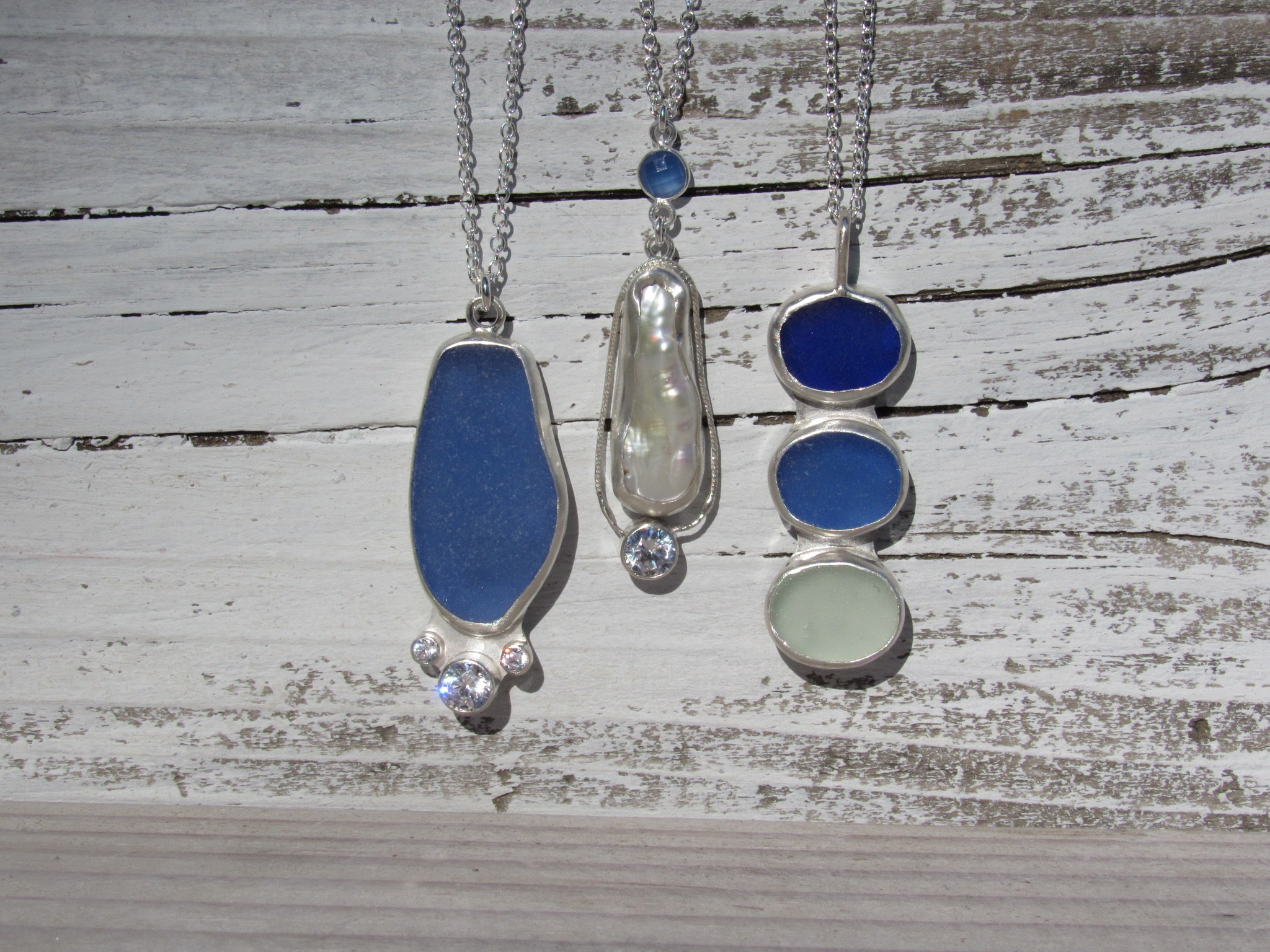custom silver and sea glass jewelry