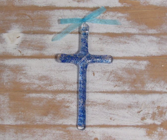 Holy Land Sand: Large Cross in Cobalt Blue.