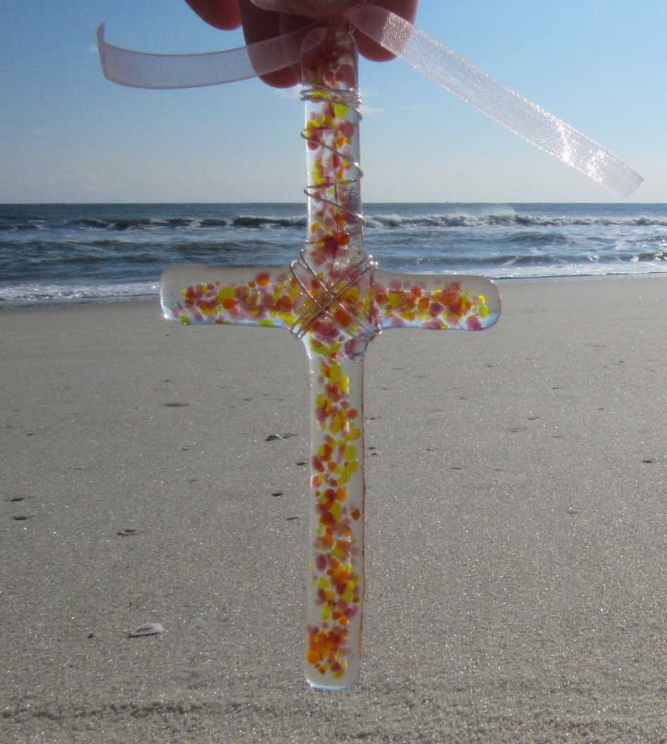Holy Land Sand Large Fused Glass Cross Ornament in Sunset
