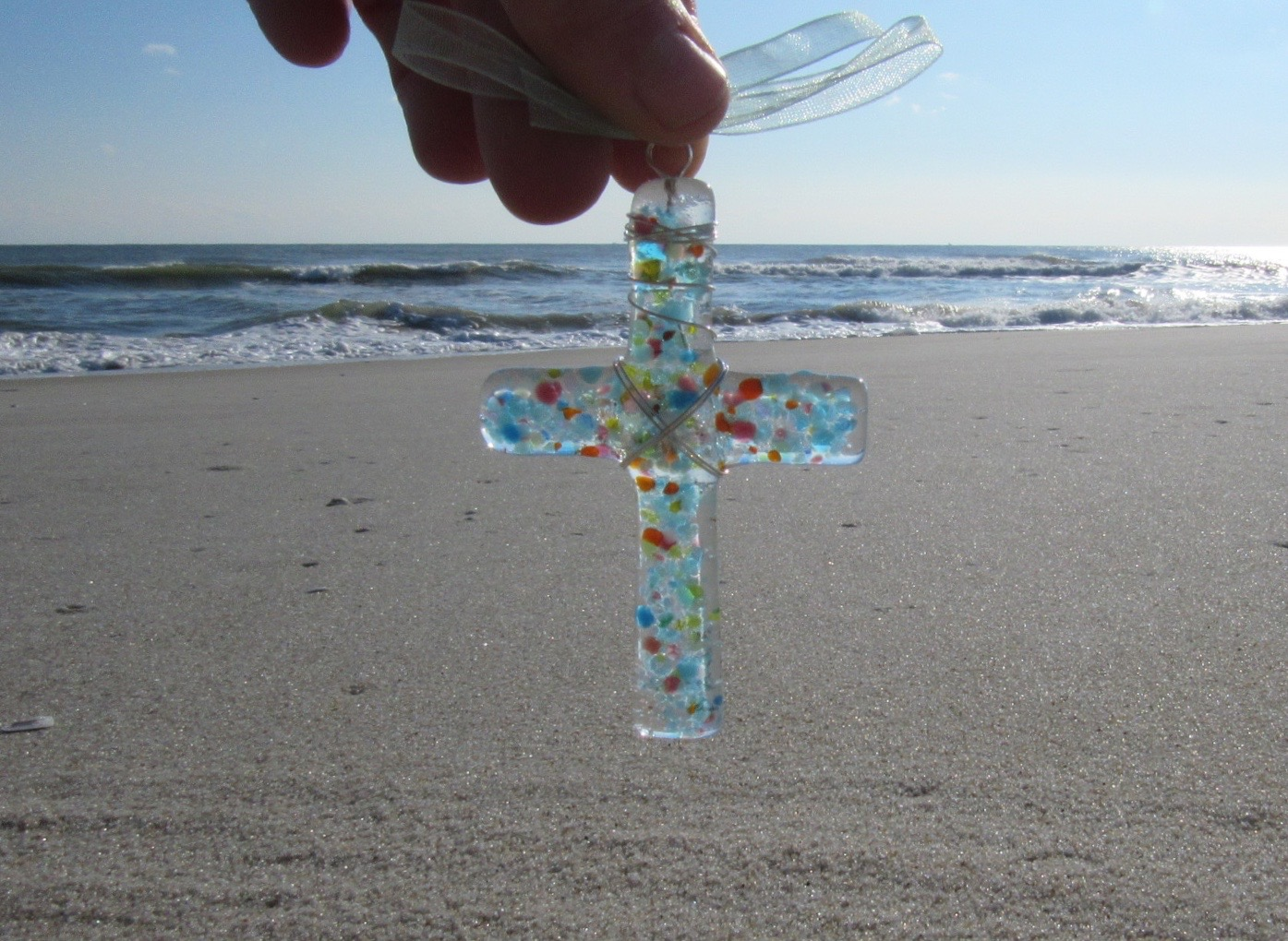 Baby Cross Sand Infused Glass Ornament in Party Blend