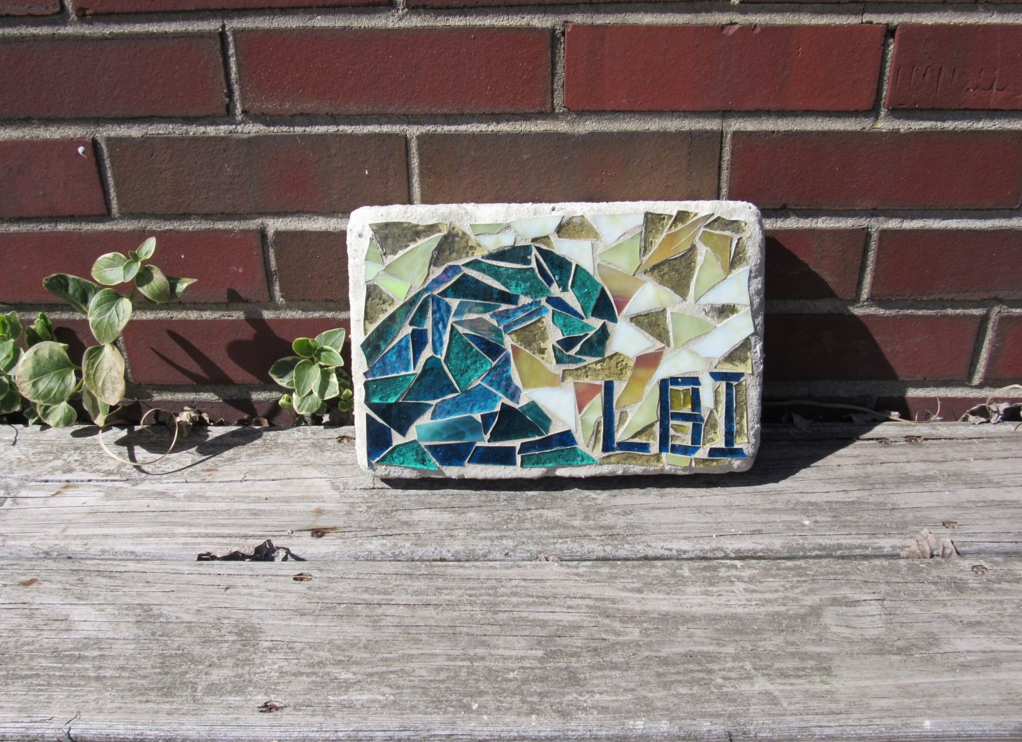 """Here is a 6"""" X 9.5 """"garden brick with a wave and LBI on it. Sweet for your garden!"""