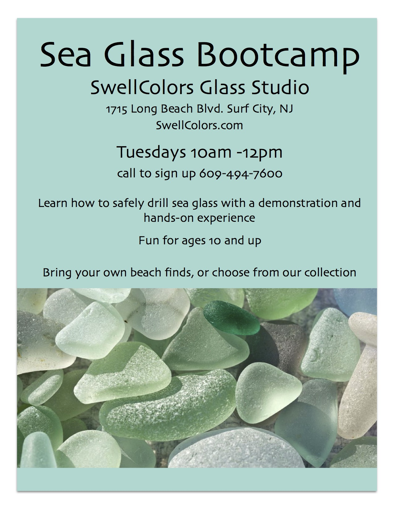 Join us for a class to learn how to safely drill your own sea glass. You can bring pieces you've found yourself, or choose from our collection. At the end of the class, wire is added to your pieces so you can add them to a chain or cord and wear your beautiful treasures. Call us ahead of time so we are ready for your class. This one-on-one class usually lasts about an hour and you can drill up to five pieces of sea glass to take home with you. It's a great class for those interested in making their own jewelry or those who have always wondered how glass is drilled.